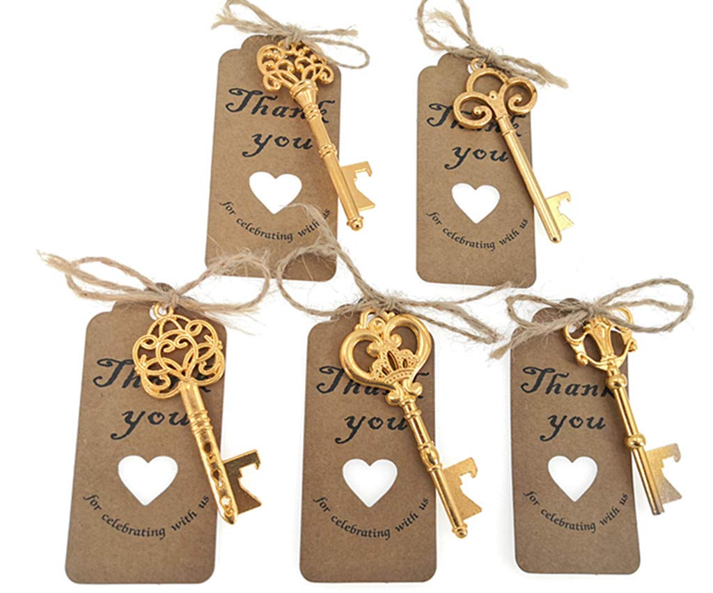 50pcs Skeleton Key Bottle Opener Wedding Party Favor Souvenir Gift with Escort Tag and Jute Rope(Golden Tone,5 styles) by ALIMITOPIA