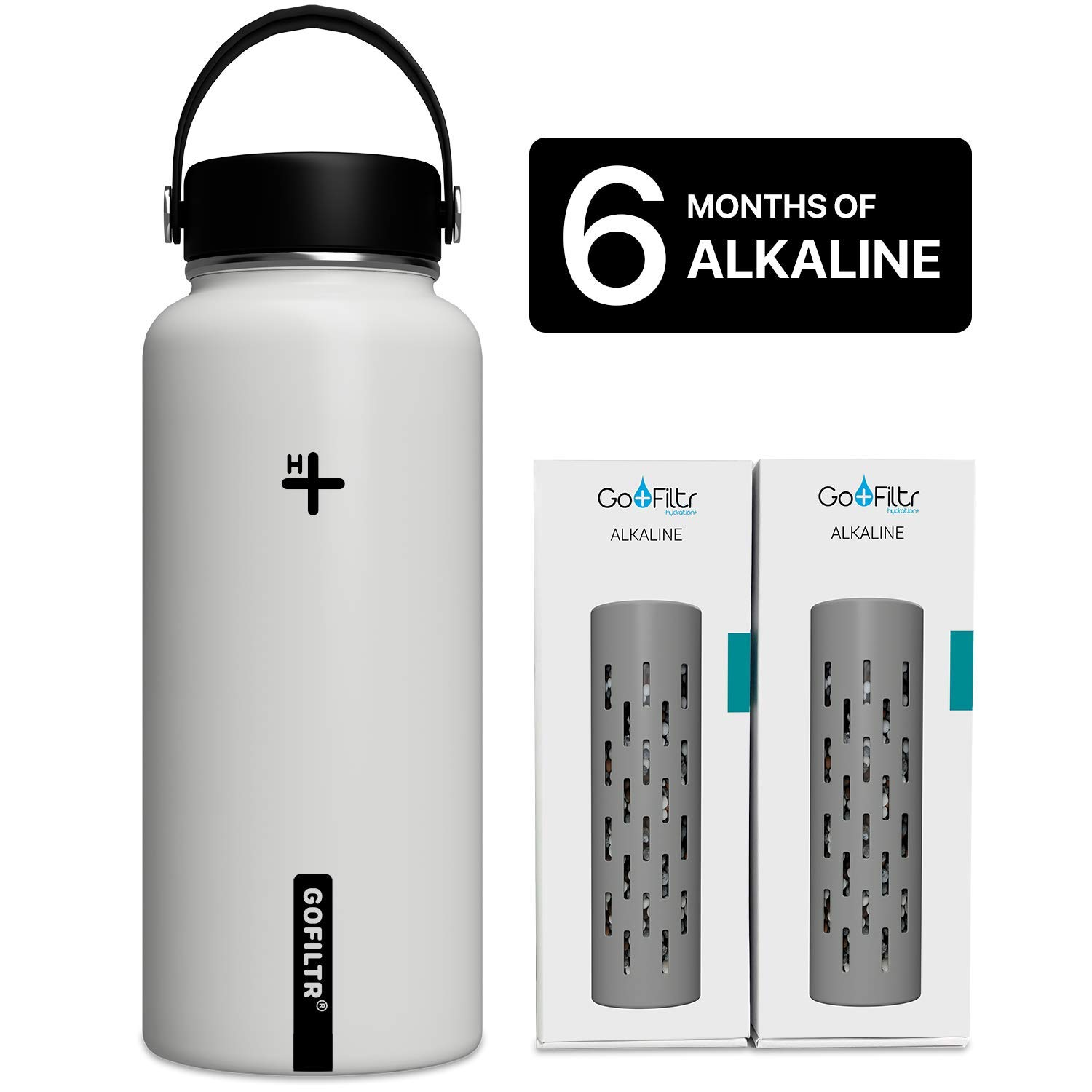 GOFILTR Alkaline Water Bottle Hydration Kit | 32 oz (950ml) Vacuum Insulated Stainless Steel Water Bottle | Wide Mouth + Two Alkaline Ionized Mineral Infusers