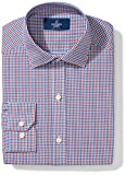 """Buttoned Down Men's Classic Fit Spread Collar Pattern, Red/Brown/Blue Check, 17.5"""" Neck 38"""" Sleeve"""