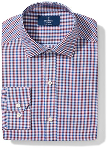 BUTTONED DOWN Men's Classic Fit Spread Collar Pattern, Red/Blue Gingham, 16.5
