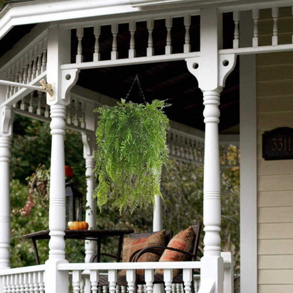 MIHOUNION 2 unids Plantas Artificiales Colgantes Plantas plastico Plantas Verdes Artificiales para la decoración del hogar de Interior al Aire Libre blacon: Amazon.es: Jardín