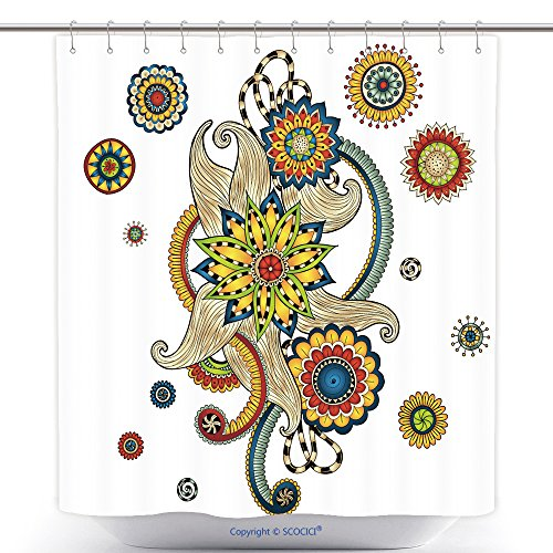 Pin Up Girl Costumes Ebay (Funky Shower Curtains Henna Paisley Mehndi Doodles Abstract Floral Vector Illustration Design Element Series Of Doodle 196857935 Polyester Bathroom Shower Curtain Set With Hooks)