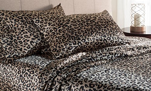 Elite Home Products Luxury Satin 100-Percent Poly Solid Sheet Sets, King, Leopard