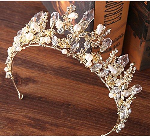 Leiothrix Wedding Queen Flower Crowns and Tiaras Gold Baroque Rhinestone Bridal Hair Accessories for Women