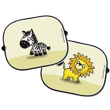 2 Stück selbsthaftende Sonnenblende Löwe Sonnenschutz Auto Baby mit UV Schutz