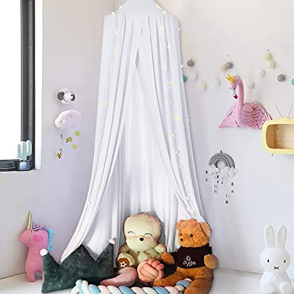 Jeteven Cotton Bed Canopy Bed Tent for Girls Bed, Play Tent Reading Nook  Round Cotton Dome Curtains for Baby Kids Games House-White
