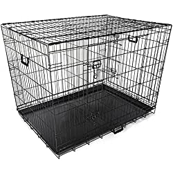 """Yescom 42"""" 2 Doors Foldable Metal Wire Dog Crate Tray Divider Cat Pet Kennel Cage House"""