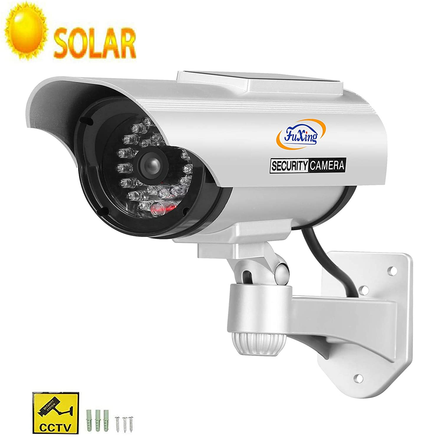 FX Solar Fake Dummy CCTV Security Surveillance Camera with Solar pannel for Blinking Red LED Light with CCTV Warning Signs Sticker JSXTTYNUSA