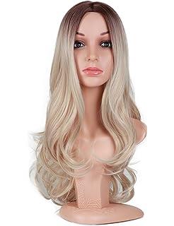 Golden Rule ndulado largo ceniza rubia Ombre pelucas para mujer oscuro marrón raíces onda del cuerpo