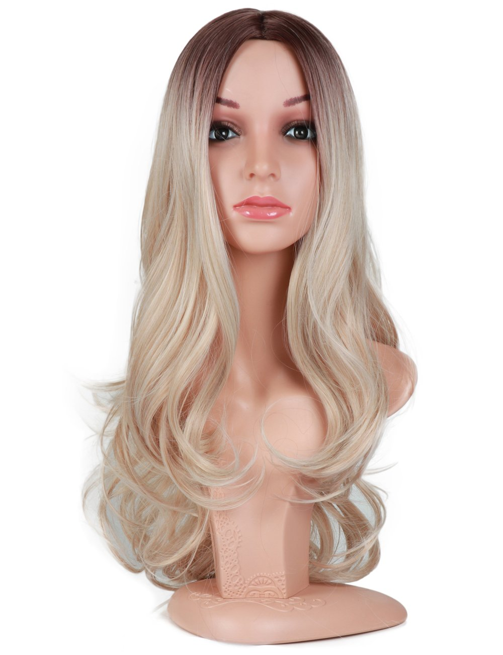 Fani Wigs Long Wavy Ash Blond Ombre Wigs for Women Dark Brown Roots Body Wave Middle Part Heat Resistant Synthetic Full Wig Cosplay Wigs with Free Wig Cap