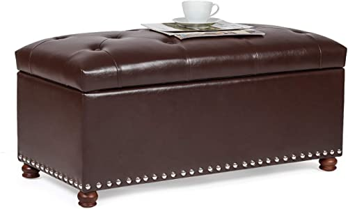 Homebeez Faux-Leather Storage Ottoman Bench Button-Tufted Rectangular Footstool Brown