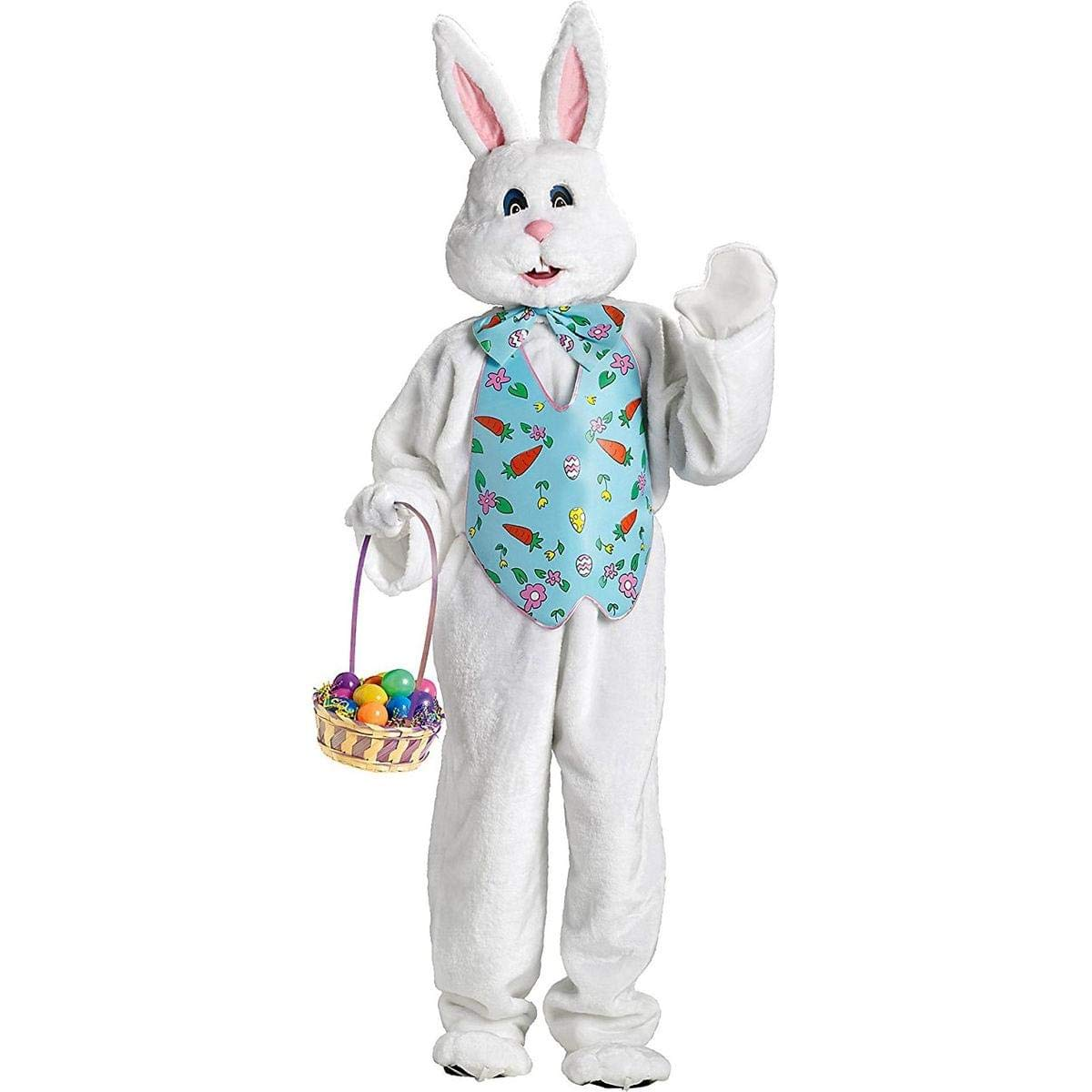 Amazon.com: FunWorld Bunny Deluxe Adult Costume White With Blue Easter Vest  And Mascot Head, Large: Clothing