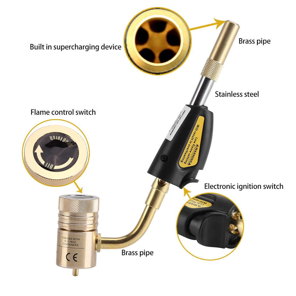Amazon.com: Zerodis Gas Self Ignition Turbo Torch Brazing Soldering Welding Plumbing Gun Tool: Garden & Outdoor