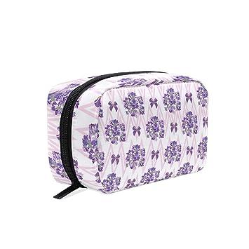 6bfc2bdeeffe Amazon.com : Pink Stripe Lavender Nursery Women's Large Cosmetic ...