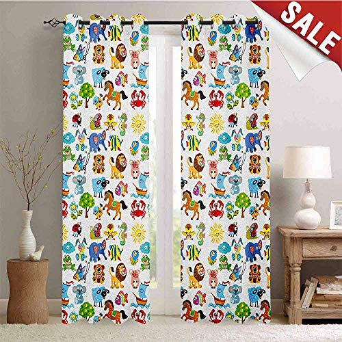 Hengshu Nursery Drapes for Living Room Various Different Animal Figures and Nature Themed Cartoon Characters Babies Kids Window Curtain Fabric W72 x L96 Inch Multicolor
