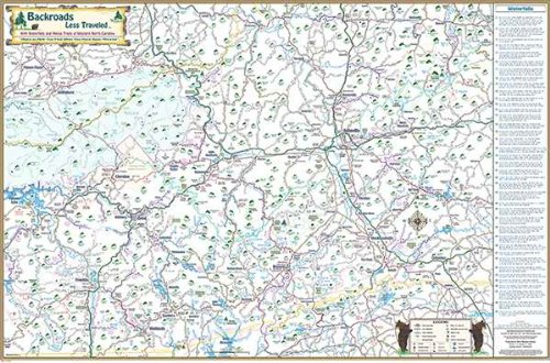 Map of North Carolina and part of NE Tennessee Folded Covering Waterfalls and National Forests and much more Backroads Less Traveled Map