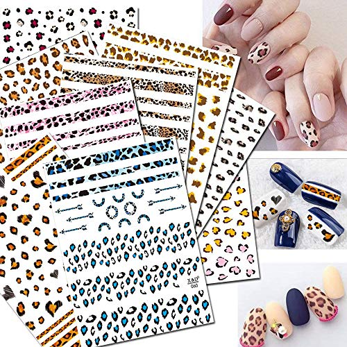 3D Nail Stickers for Women Nail Art Accessories Appliques 9 Large Sheets Nail Art Leopard Decals Waterproof Enchanting Wild Snake Pattern Nail Tattoo Stickers ()