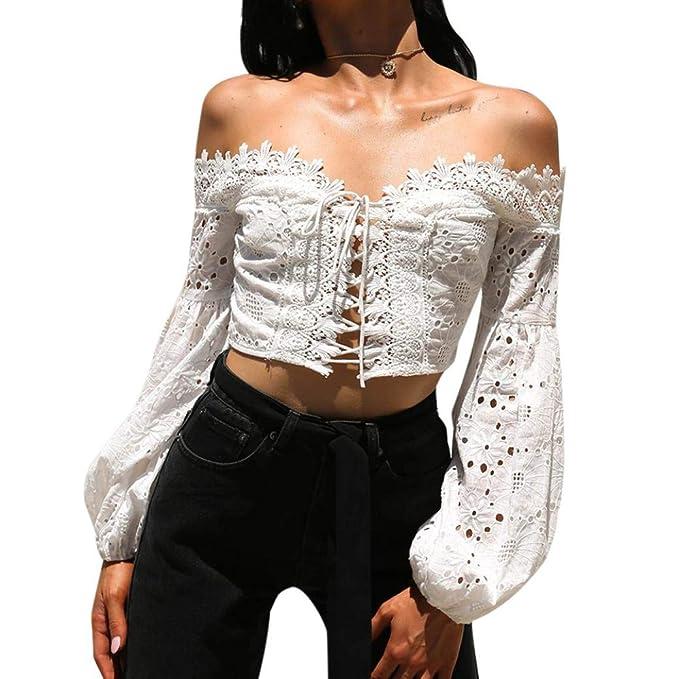 Sexy Off Hombro Blusa Blusa Suelta con Cuello En V De Manga Larga para Mujer Atractivas del Escote con Cordones De La TúNica De Manga Larga Camisas De ...