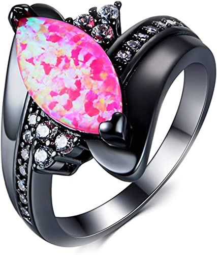 T/&T ring Shape White Zircon Ring Black Gold Filled Jewelry Vintage Ring For Women Wedding Rings