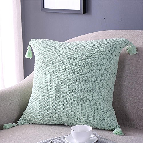 EnjoyBridal Cotton Knitted Pillowcase Bed,Sofa,Car Square Warm Pillow Covers with Pendant, 45x45CM Throw Sweater Pillow Cases Decorative,Soft Cover Only (45x45cm, Mint) (Sea Green Throw Pillows)