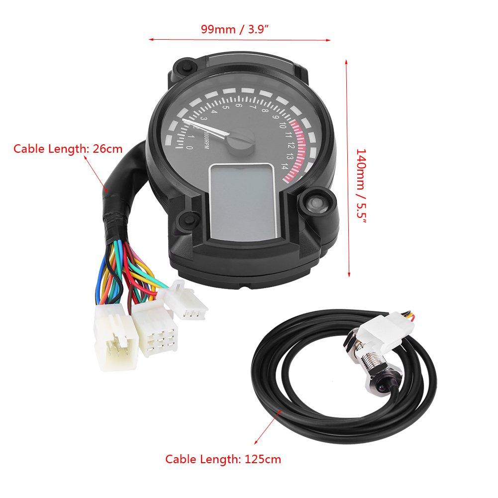 Capteur de Vitesse Moto 12V Odom/ètre Tachym/ètre Num/érique Universel Compteur de Vitesse Color/é LCD Ecran R/étro/éclairage