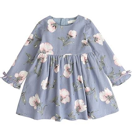 Bebé niña vestido de manga larga Vintage Foral Imprimé princesa ropa para 3 – 7 años