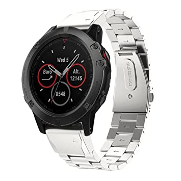 TopTen Garmin Fenix 5X - Correa de repuesto de acero inoxidable para reloj inteligente Garmin Fenix 5X, hombre, GA-008, plata, 140mm-210mm: Amazon.es: ...