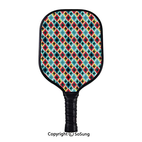 Amazon.com: Geometric Pickleball Paddle,Grunge Colorful ...