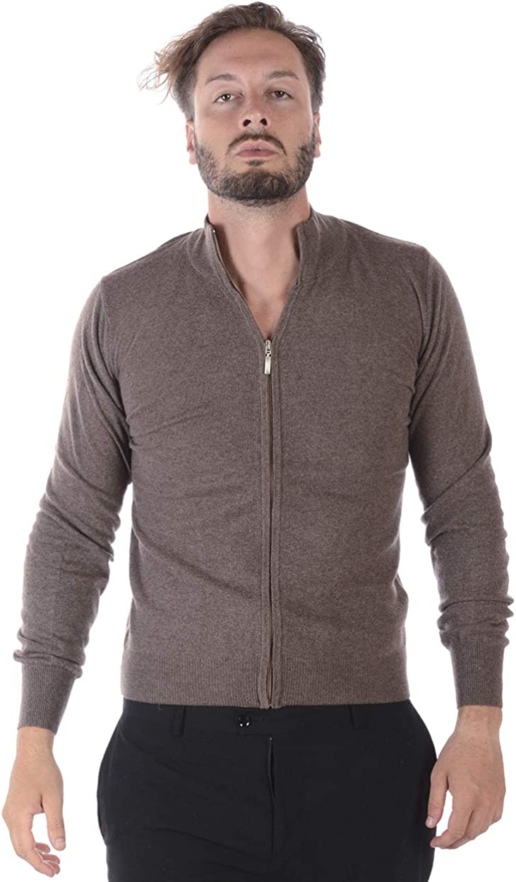 Men/'S Jersey FMC17193707 Beige Classic Zip Cardigan Sweater Daniele Alessandrini