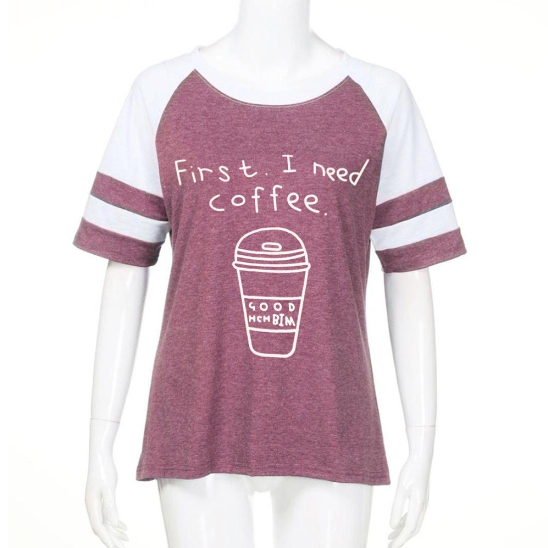 Perman Summer Fashion Cool Loose Fit Short Sleeve O Neck Torch Tshirt Women Burgundy Maroon Xl First I Need Coffee Prints Tops Tee T Shirt For Sale Clothing