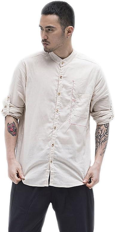 BaronHong Camisas de Lino de Manga Larga de Cuello Chino Slim ...
