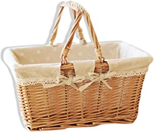 Mo Duo dresses 2019 New Rural Style Willow Rattan Woven Hand Basket Fruit Flower Gift Packing Basket for Home Picnic, Circular