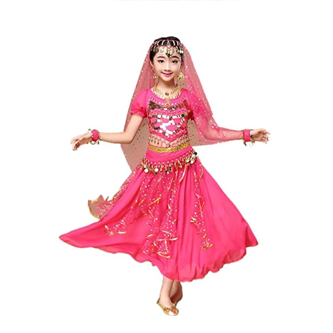 amazon com fineser kid s little girls chiffon belly dance costume