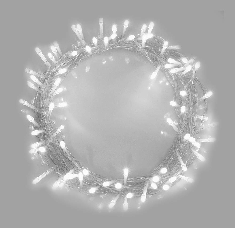 ANSIO Fairy Lights 200 LED Bright White Christmas Tree Lights String Lights - 8 Functions 20m/65ft Lit Length with 3m/10ft Lead Wire Power Operated, Ideal for Christmas Decorations-Indoor Use