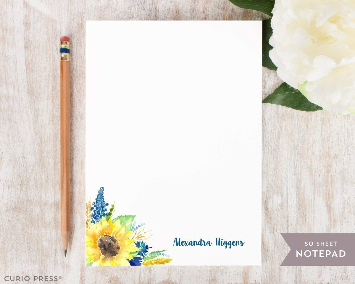 SUNFLOWER NOTEPAD - Personalized Floral Stationery/Stationary Note Pad