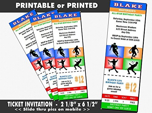 All Star Sports Birthday Party Ticket Invitation, Printable or Printed Option
