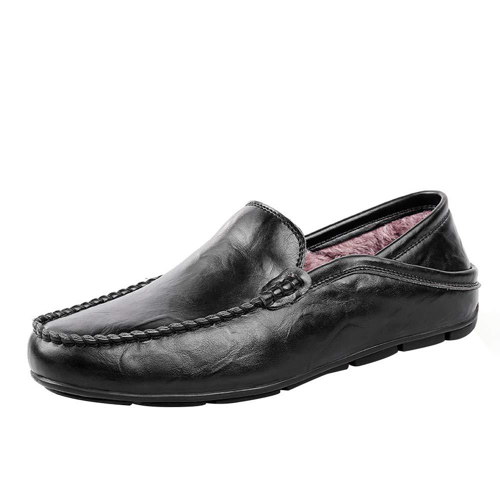 uirend Cuero Zapatos Hombre - Mocasines Cordones Conducción Smart Casual Slip on Calentar Zapato Negro