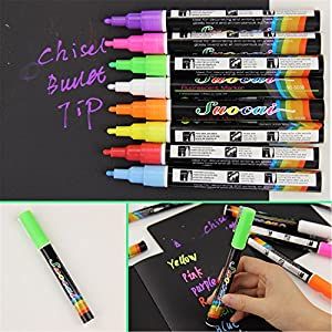 Better Annie 2 PCS Liquid Chalk Marker Pens Erasable Multi Colored Highlighters LED Writing Board Glass Window Art 8 Colours Marker Pens Yellow
