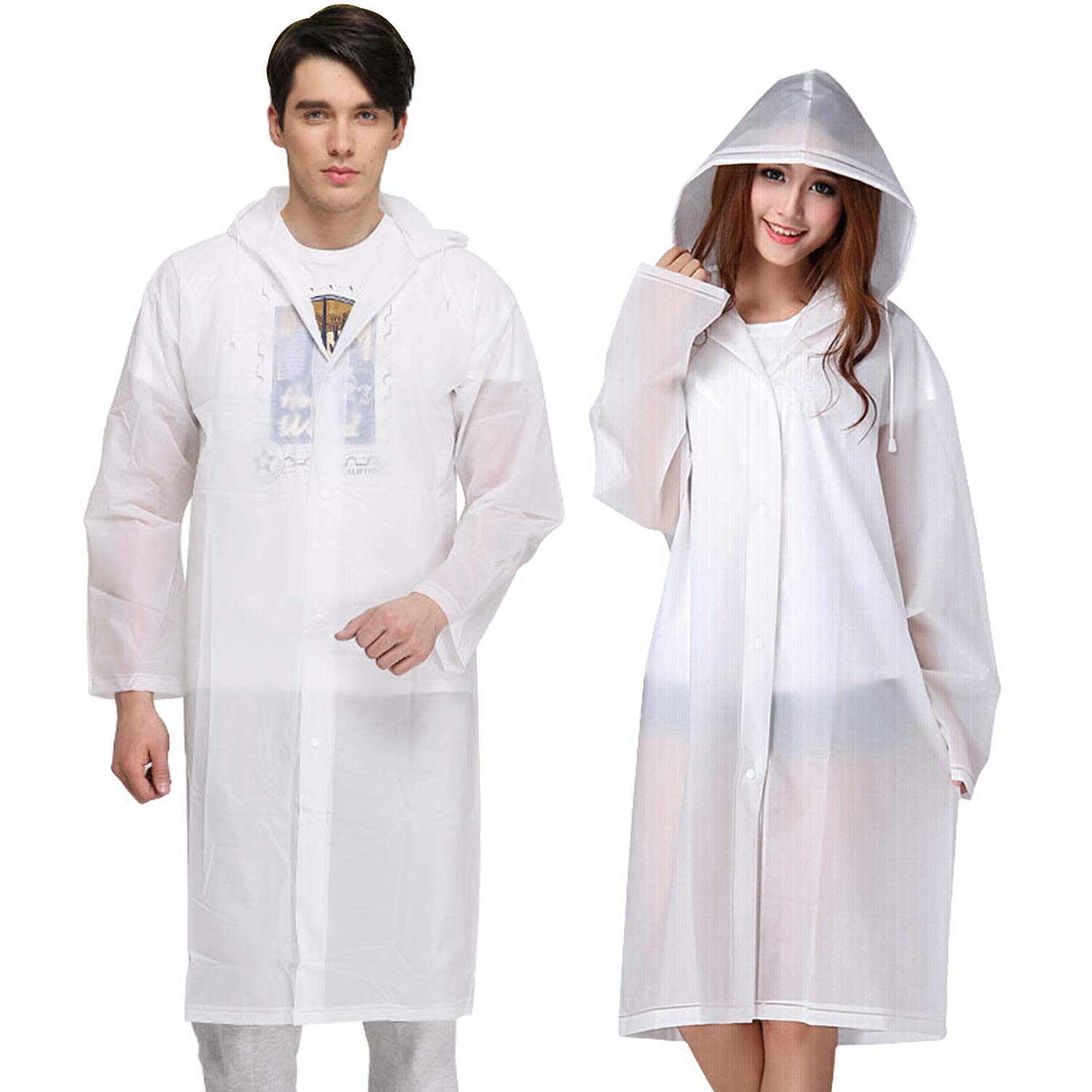 KKTICK Rain Poncho Reusable, 2 Pack Adult Raincoat with Hoods and Sleeves, Thicken Clear Ponchos for Men Women Teens, 45.2 x 24.8 45.2 x 24.8