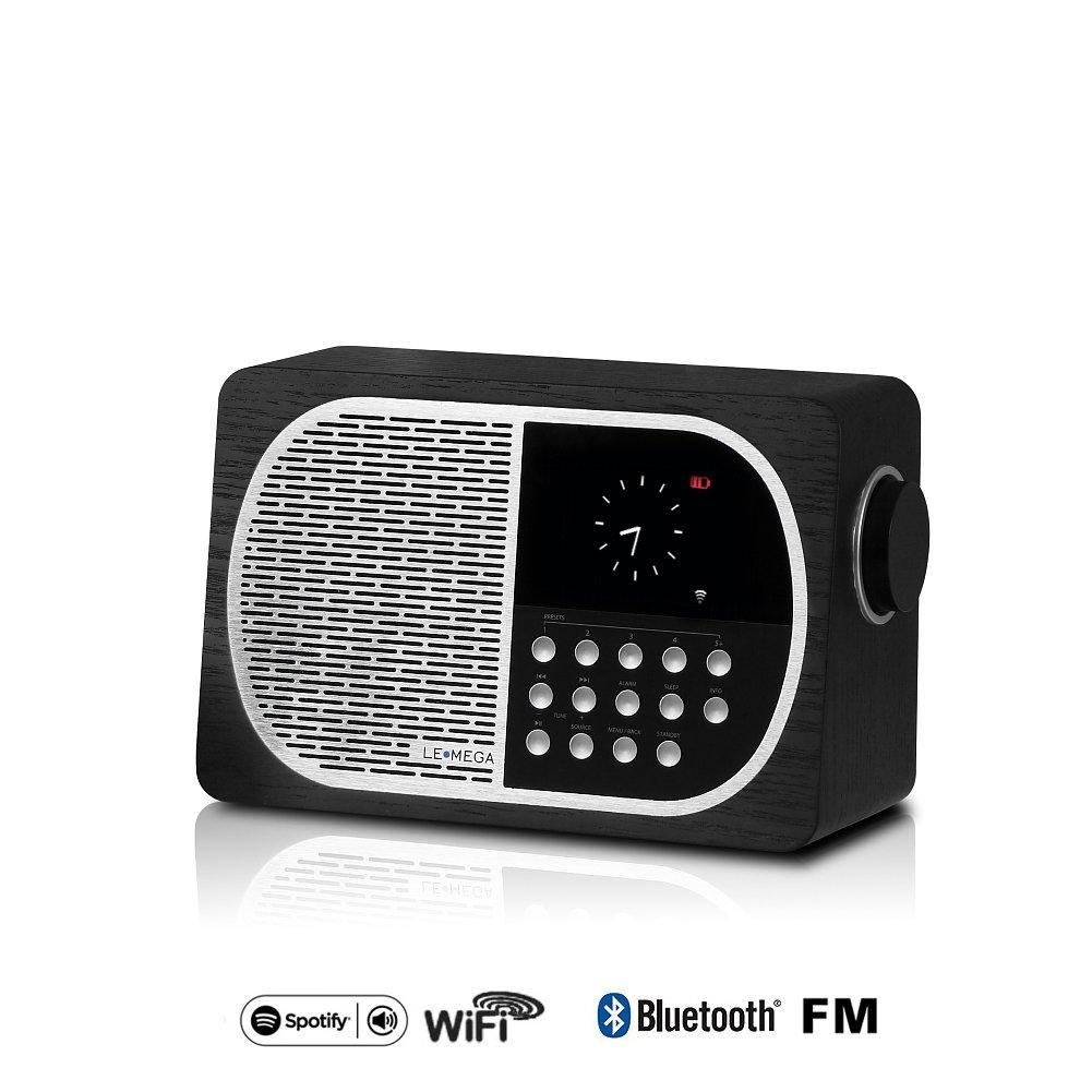 LEMEGA M2A Wi-Fi/DLNA/Spotify connect /Internet Radio/ FM radio with Bluetooth and Clock/Snooze/Alarm table radio (Black oak)