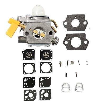 AISEN Carburetor with Diaphragm Repair Kits Primer Bulb for Ryobi Homelite String Trimmer Blower Pruner Brushcutter 308054003 C1U-H60D C1U-H60E