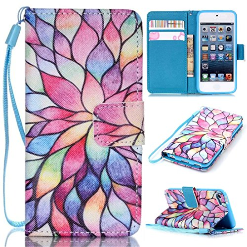iPod Touch 6 Case, iPod Touch 5 Case, Lwaisy [Wrist Strap] [Stand Feature] Premium PU Leather Wallet Phone Case Flip Cover Built-in Card Slots for Apple iPod Touch 5 6th Generation (Water Lily)