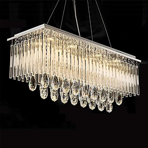 Siljoy Modern K9 Crystal Rectangle Chandelier Dining Room Hanging Pendant Light Beautiful Ceiling Light Fixtures, 12 Lights, L47.2 x W 9.8 x H 11.8