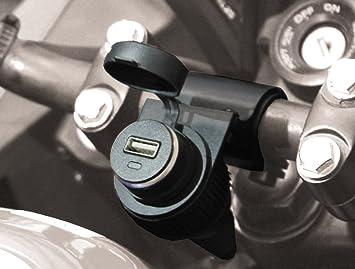 BC Battery Controller 710-P12USB - Toma de Mechero/Toma Encendedor 12V Estanca con Soporte Universal para Manillar para Moto + Toma Cargador USB