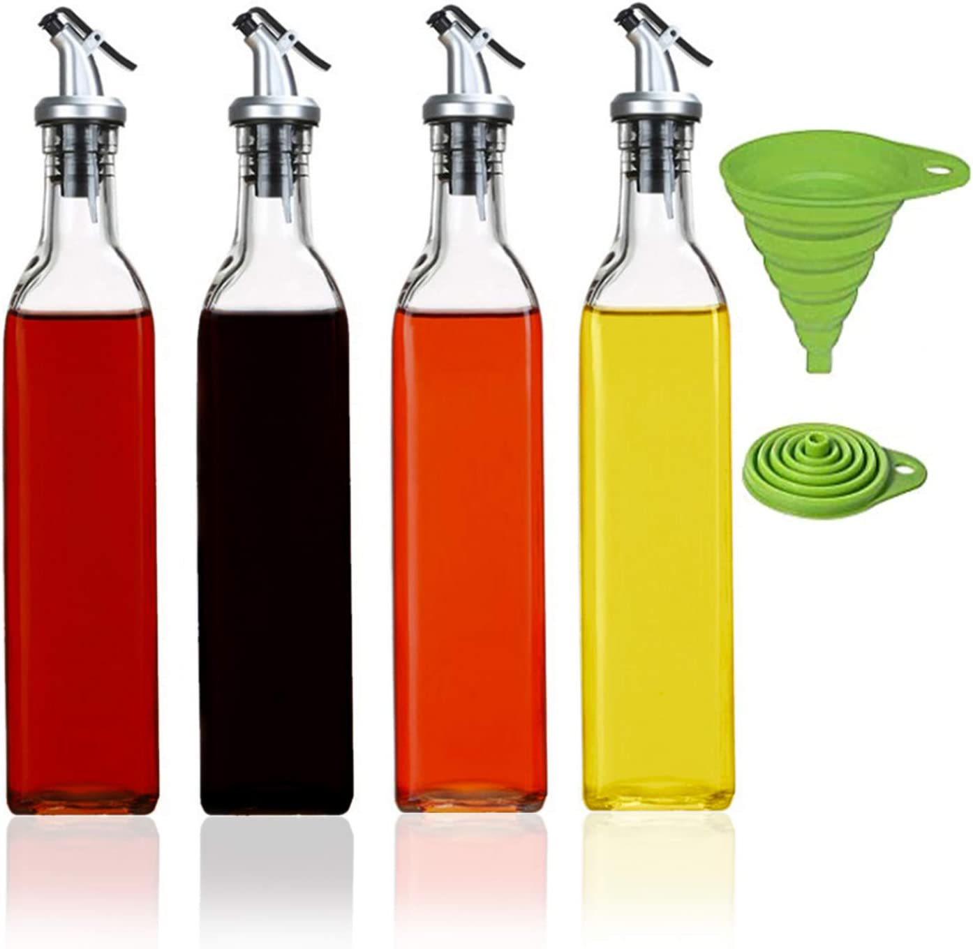MFDSJ 17 Ounce Glass Oil Vinegar Dispenser Bottle with Silicone Collapsible Funnel, Leak Proof Oil Bottle Set for Kitchen Cooking, 4 Pack