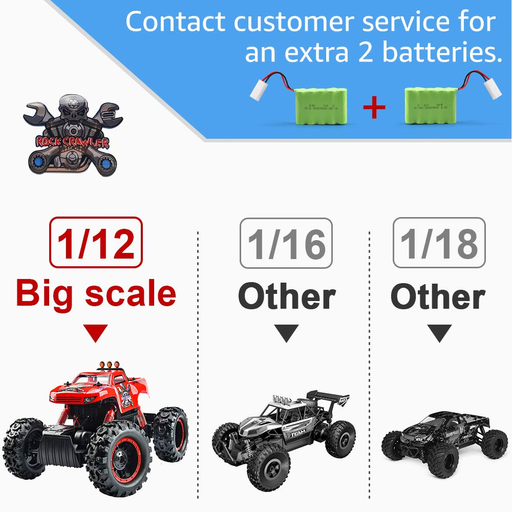 Remote Control Trucks Monster RC Car 1: 12 Scale Off Road Vehicle 2.4Ghz Radio Remote Control Car 4WD High Speed Racing All Terrain Climbing Car Toys Car Gift for Boys (Red) by NQD (Image #2)