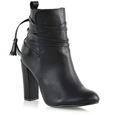 ESSEX GLAM New Womens Ankle Boots Ladies High Block Heel Lace Up Zip Booties  Shoes Size 695786b17d
