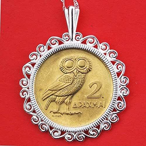 Black velvet choker with Greece 1 Drachmai Coin with Owl