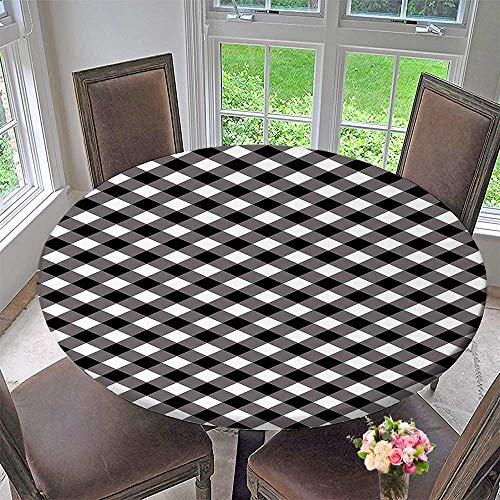 """Mikihome Picnic Circle Table Cloths Gingham Grid Nostalgic Lines Stripes Artsy Black and White for Family Dinners or Gatherings 31.5""""-35.5"""" Round (Elastic Edge)"""