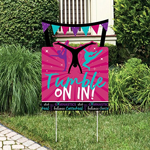 Big Dot of Happiness Tumble, Flip & Twirl - Gymnastics - Party Decorations - Birthday Party or Gymnast Party Welcome Yard Sign]()
